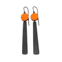 orange circle and long stripe earrings