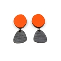 orange circle and tiny stripe studs