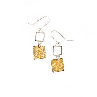 Orange Square Wire Drop Earrings