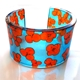 Orange and Turquoise tiny hydrangea cuff
