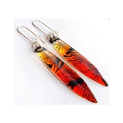Orange Dip Conifer Long Drop Earrings