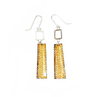 Orange Square Wire Rectangle Drop Earrings