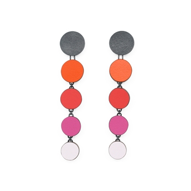 orange graduating circle earrings