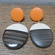 Oval earrings-nude earring with charcoal stripes and orange tops