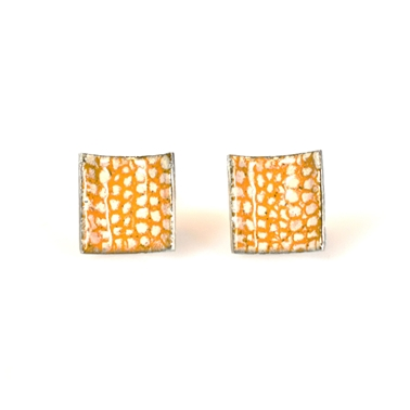 Orange Square Curved Studs