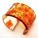 Orange Tiny Hydrangea Cuff Bracelet