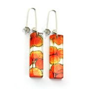 Orange Tiny Hydrangea Rectangle Faceted Earrings