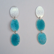 Silver oval and two deep Turquoise ovals