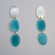 Oval stud and two deep turquoise ovals earrings