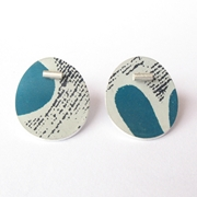 oval blue grey studs