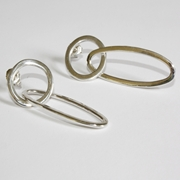 oval and circle earrings