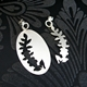 Oval curve leaf mismatch earrings