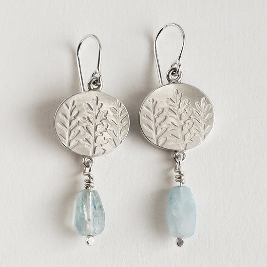 Oval aqua fern drop earring