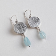 Oval fern drop earring