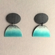 Oxidised oval stud with part Deep turquoise half oval