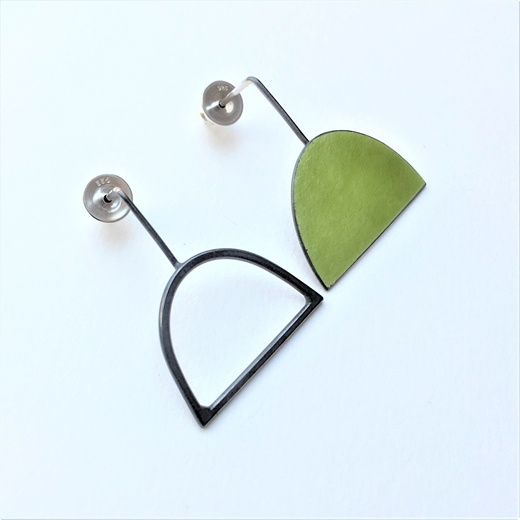 Yellow green enamel stud + oxidised wire shape stud