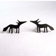 oxidised silver fox cufflinks