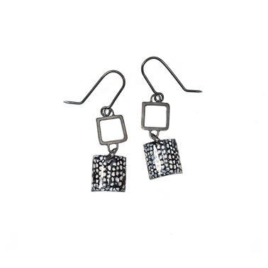 Oxidised Blue Square Wire Drop Earrings