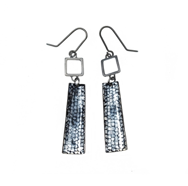 Oxidised Blue Square Wire Rectangle Drop Earrings