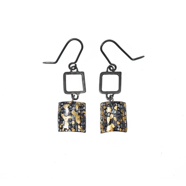 Oxidised Blue and Gold Square Wire Drop Earrings