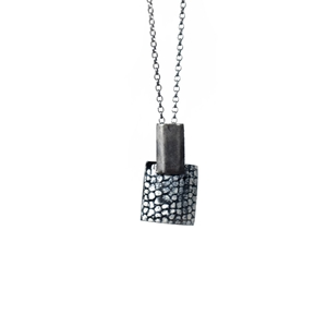 Rectangle and Square Drop Pendant - Oxidised Silver