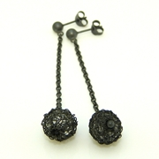 Oxidised globe earrings