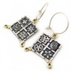 Oxidised square earrings