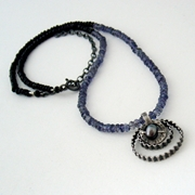 3 circle necklace, iolite and spinel