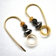 Gold plated Hoops, 2 hematites, yellow garnet