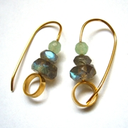 Gold plated Hoops, 2 labradorites, aventurine