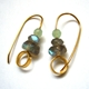 Gold-plated Hoops, two labradorites and aventurine