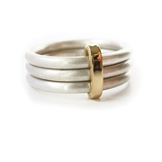 Sue Lane silver and gold 3 band ring