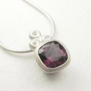 Rhodolite garnet, silver and diamond necklace