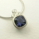 Iolite, silver and diamond necklace