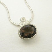 Smoky quartz, silver and diamond necklace