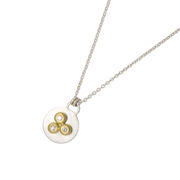 Silver, 18ct yellow gold and diamond mini necklace