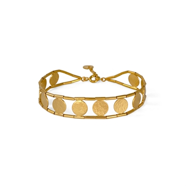 Paillette Disc & Bead Bracelet Gold 1