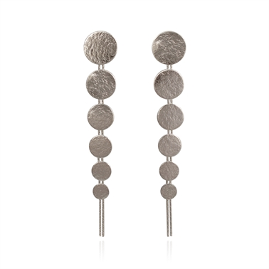 Paillette Large Drop Earrings Silver