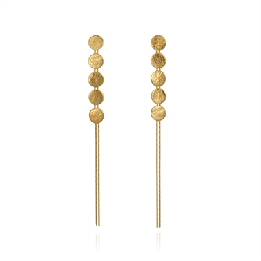 Paillette 5 Disc Drop Earrings Gold