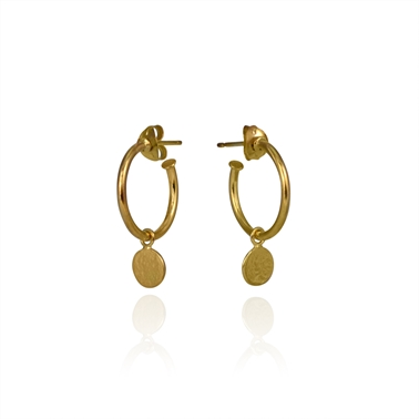 Paillette Drop Hoop Earrings Gold