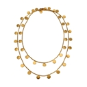 Paillette Long Disc & Bead Necklace Gold 1