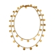 Paillette Long Disc & Bead Necklace Gold Vermeil
