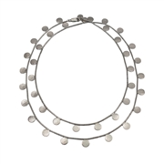 Paillette Long Disc & Bead Necklace Silver 1