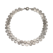 Paillette Double Row Disc Collar Silver