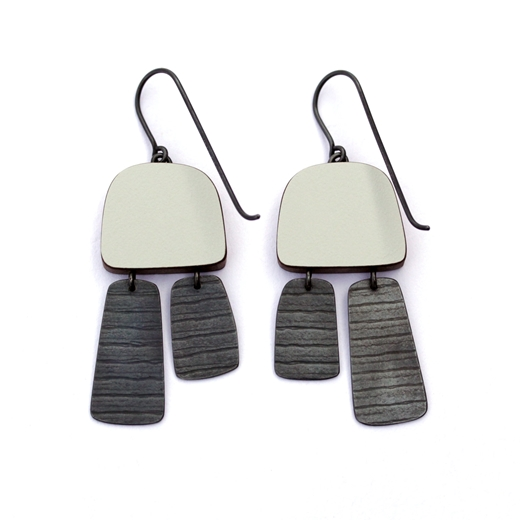 Dark grey two part earrings