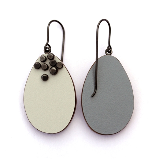 Pale grey dot pin earrings