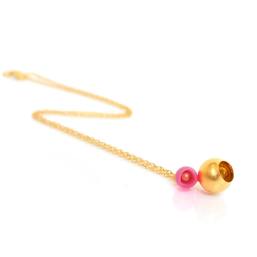 gold 2 cup pendant pink