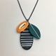 Cluster necklace Black/Orange/ Green