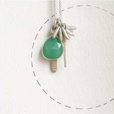 Pompom pendant with chrysoprase