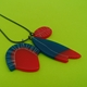 blue and red charm pendant